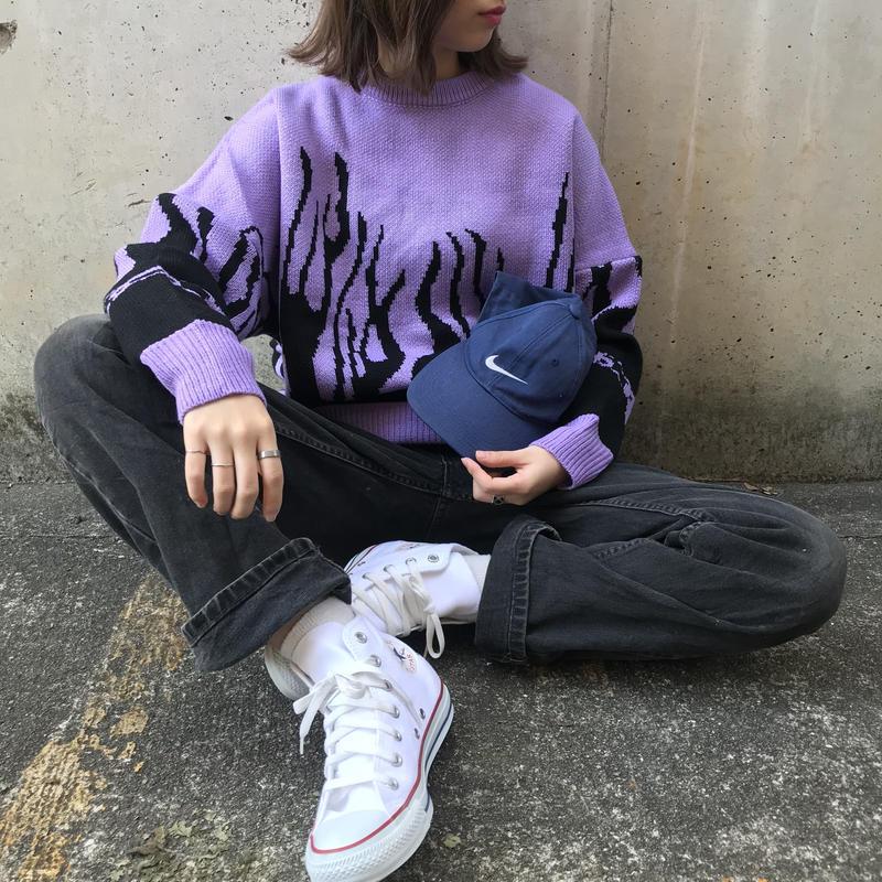 big fire knit(purple)