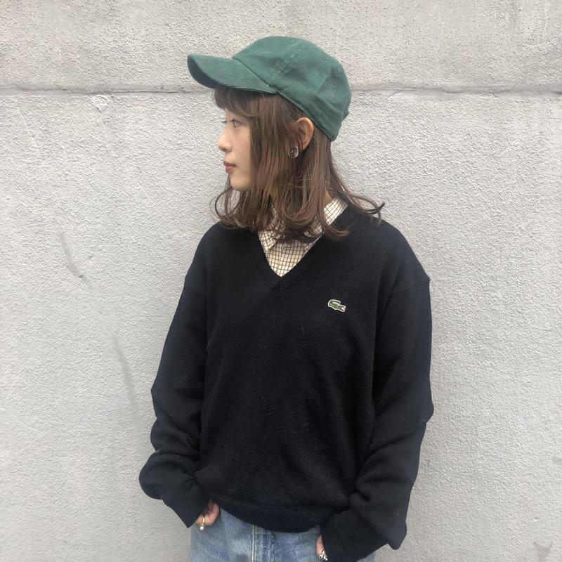 Lacoste black one point v-neck knit