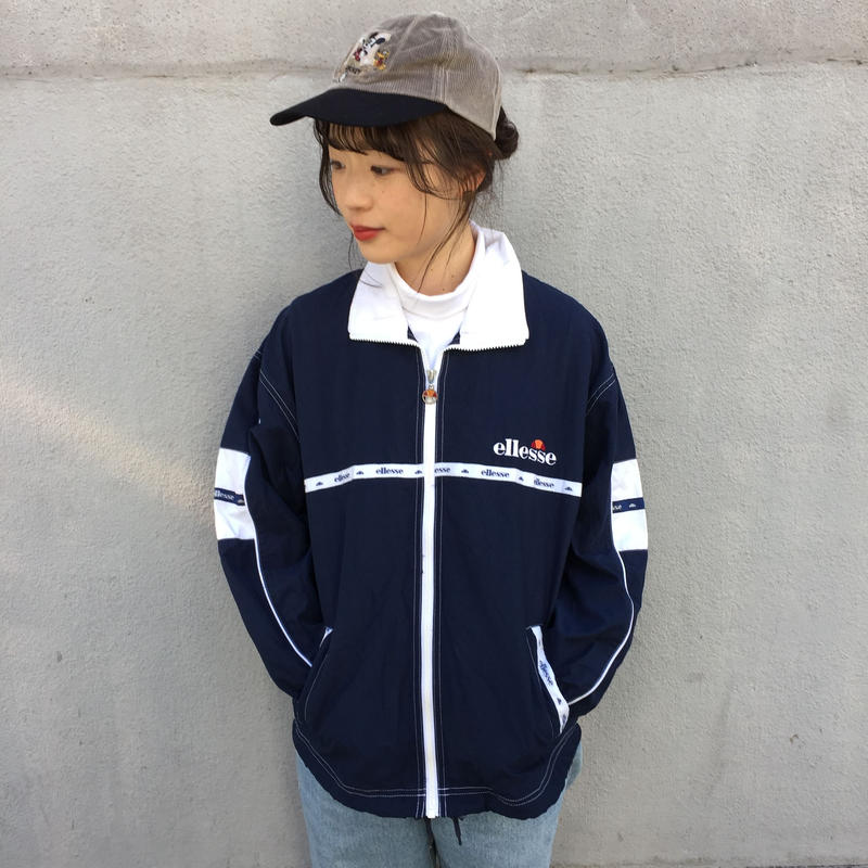 Ellese navy line nylon jacket