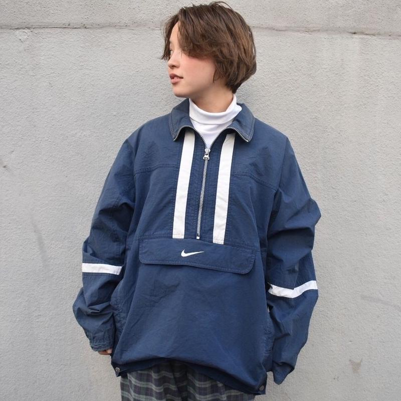 Nike navy white retro nylon jacket