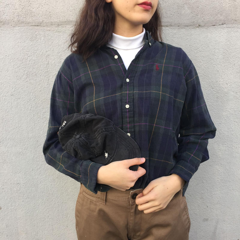 Polo green check one point shirts