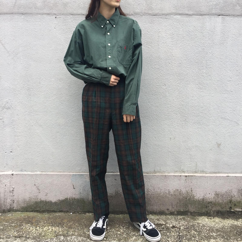 Green brown check pants