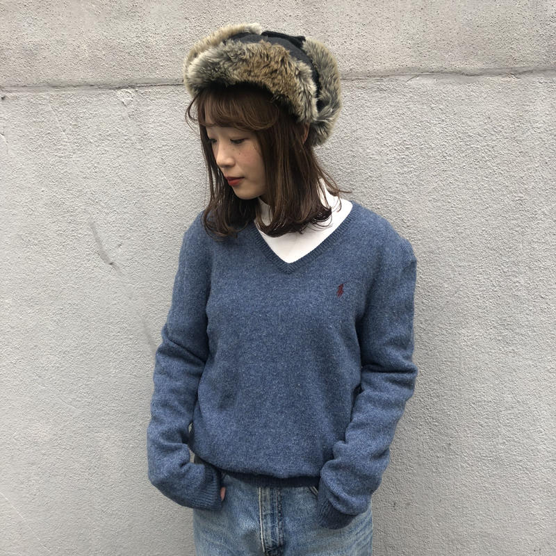 Polo  dull blue one point knit