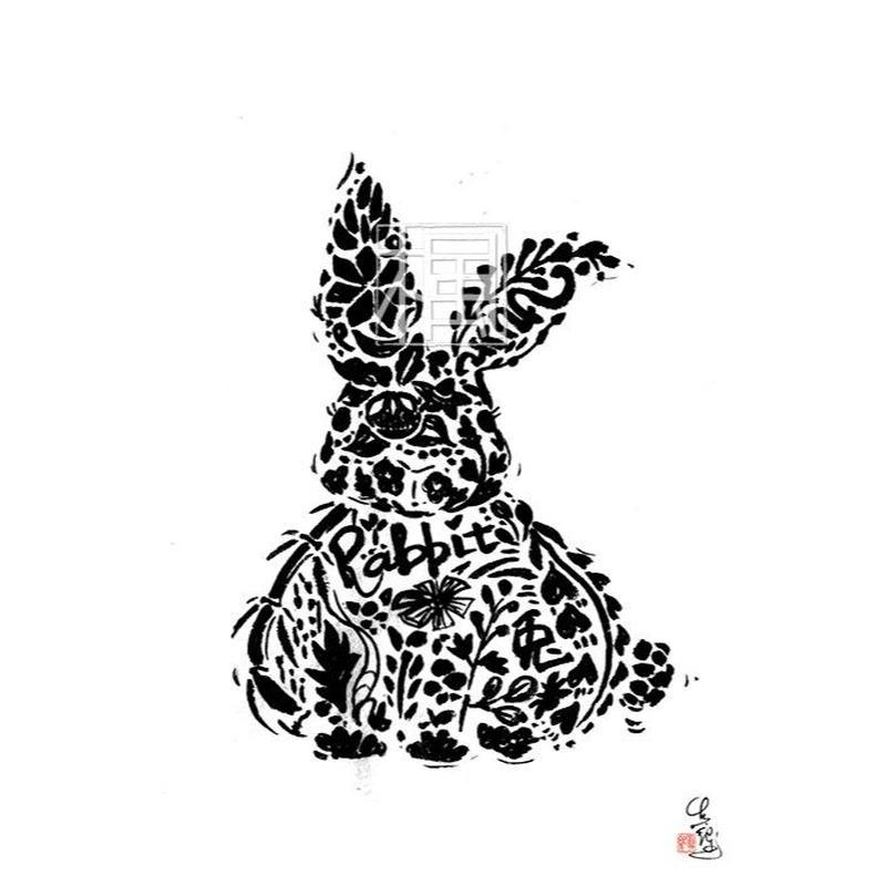Rabbit ウサギの墨絵