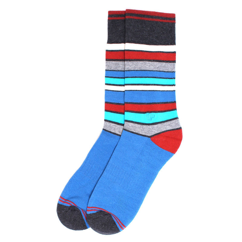 【EA1-MSP-SIS-1S】PACT(パクト メンズ)-MEN'S-Spirited Stripe Premium Crew Sock-オーガニックコットン 靴下