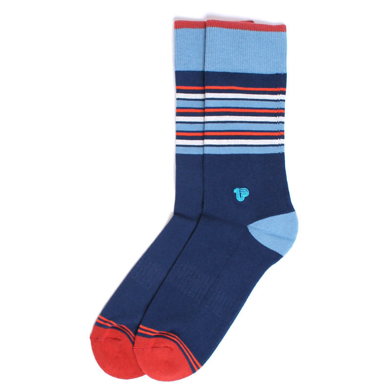 【EA1-MSP-RCS-1S】PACT(パクト メンズ)-MEN'S-Racing Stripe Premium Crew Sock-オーガニックコットン 靴下