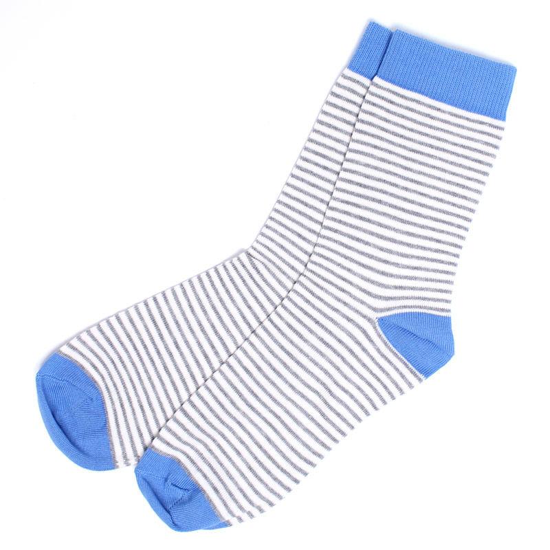 【SSA-WSK-HRS-1S】PACT(パクト)オーガニックコットン 靴下-WOMEN'S-CREW SOCK-HEATHER GREY RAILROAD STRIPE