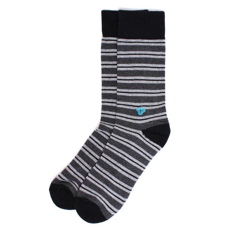 【EA1-MSP-CLS-1S】PACT(パクト メンズ)-MEN'S-Charcoal Stripe Premium Crew Sock-オーガニックコットン 靴下