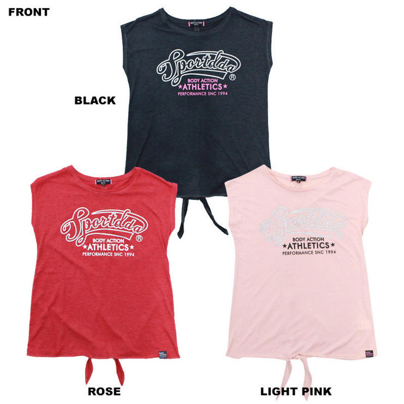 (BODY  ACTION) バックリボン Tシャツ BLACK LIGHT PINK ROSE Sサイズ