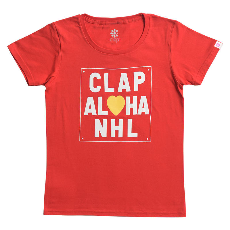 (CLAP)  CLAP  ALOHA  Tee レッド