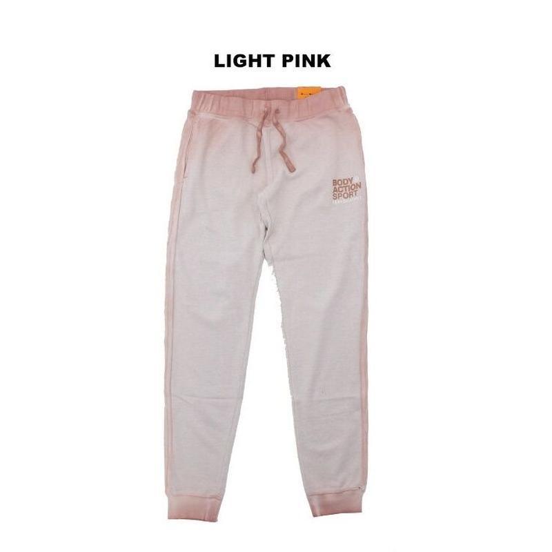 (BODY  ACTION) ユーズド加工 ジョガー スウェットパンツ  LIGHT PINK Sサイズ