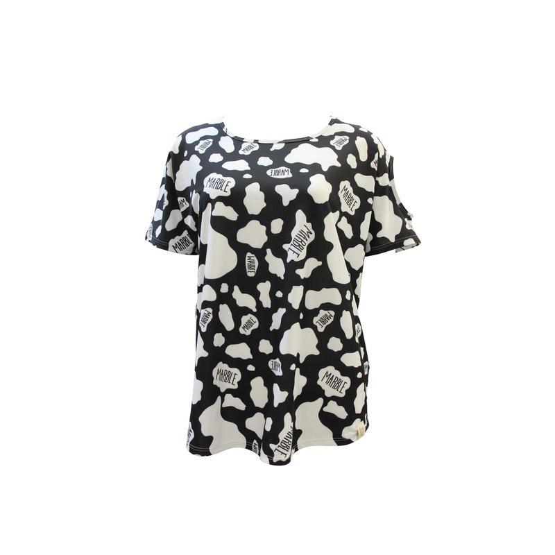 (Marble) cow柄オフショルダー ブラック