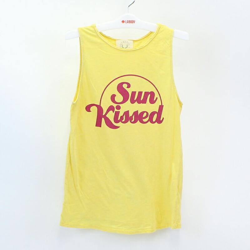 (FANTASTIC FAWN)Sun Kissed ロゴプリント タンクトップ YELLOW