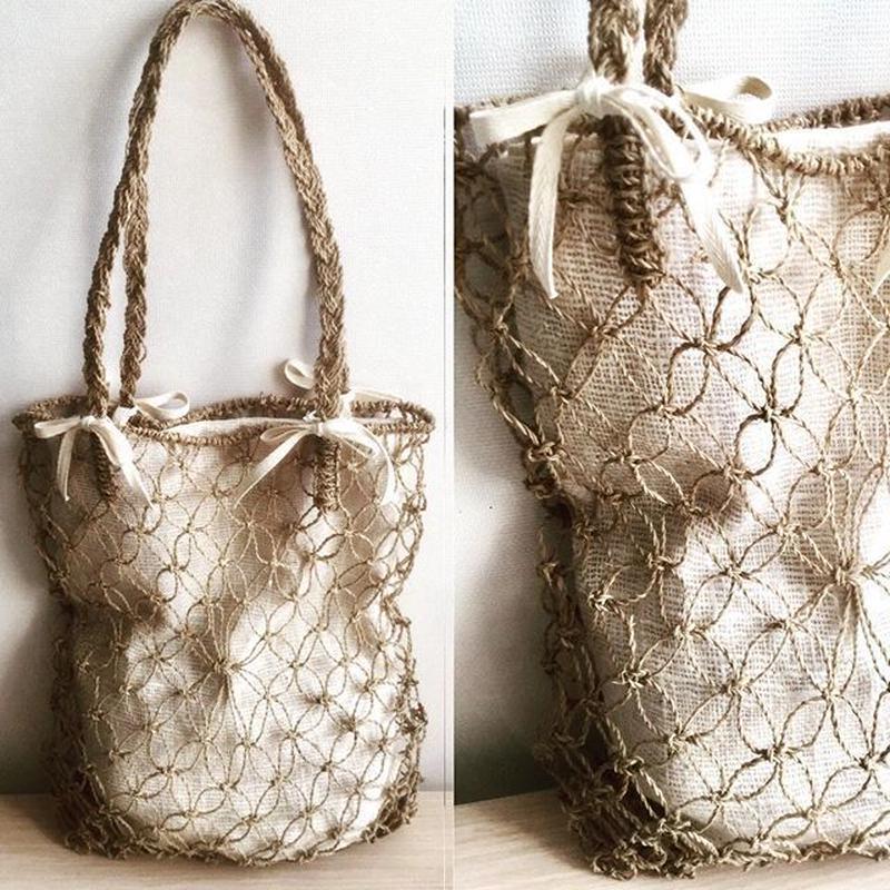 Rush grass net&hand woven natural cotton bag