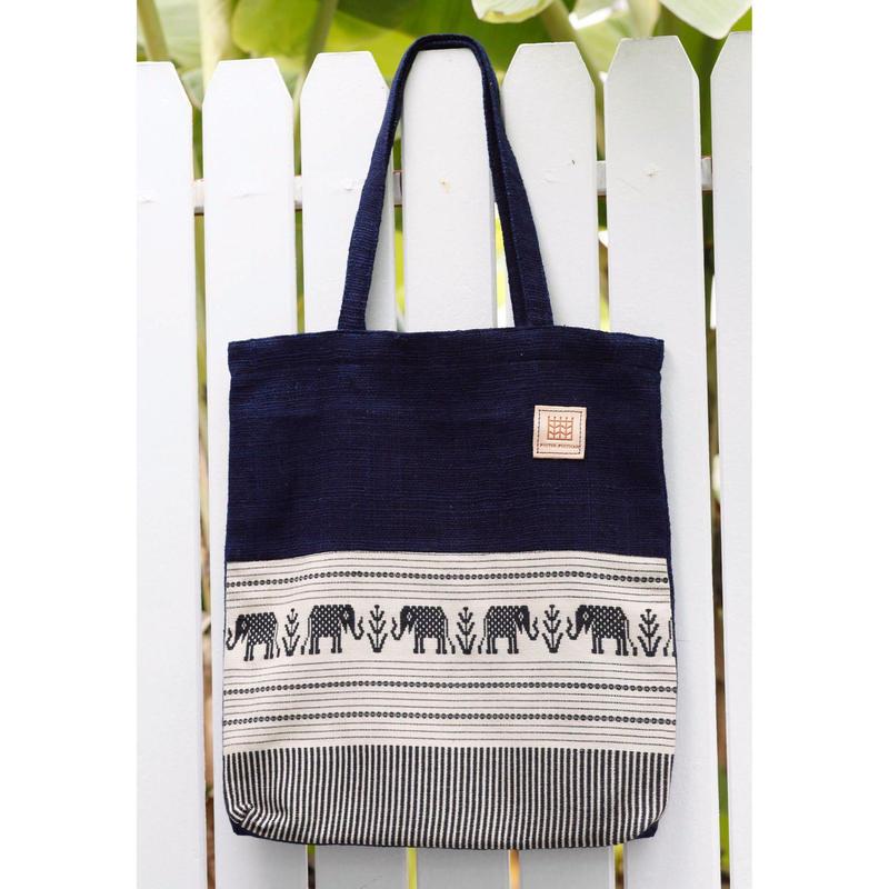 Natural Indigo dyeing handwoven cotton tote bag  手織りゾウ柄コットンxインディゴ染め手織りコットントート