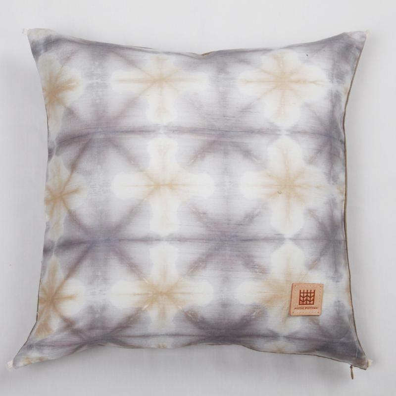 Plant dyeing silk cushion cover  手織りシルク草木染めクッションカバー PSD−001