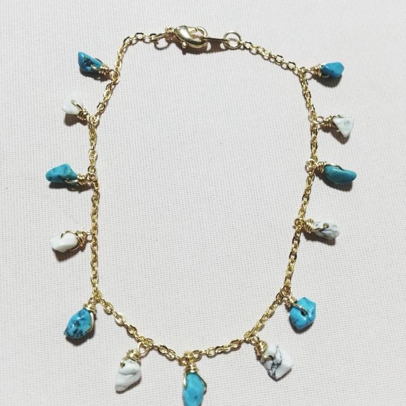 charm bracelet☆turquoise&howlite