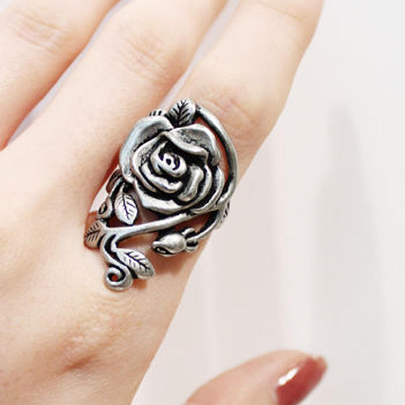 SILVER BIG ROSE RING