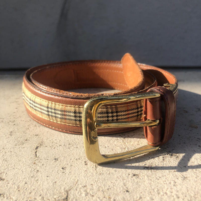 【Vintage Burberry】CHECK LEATHER BELT