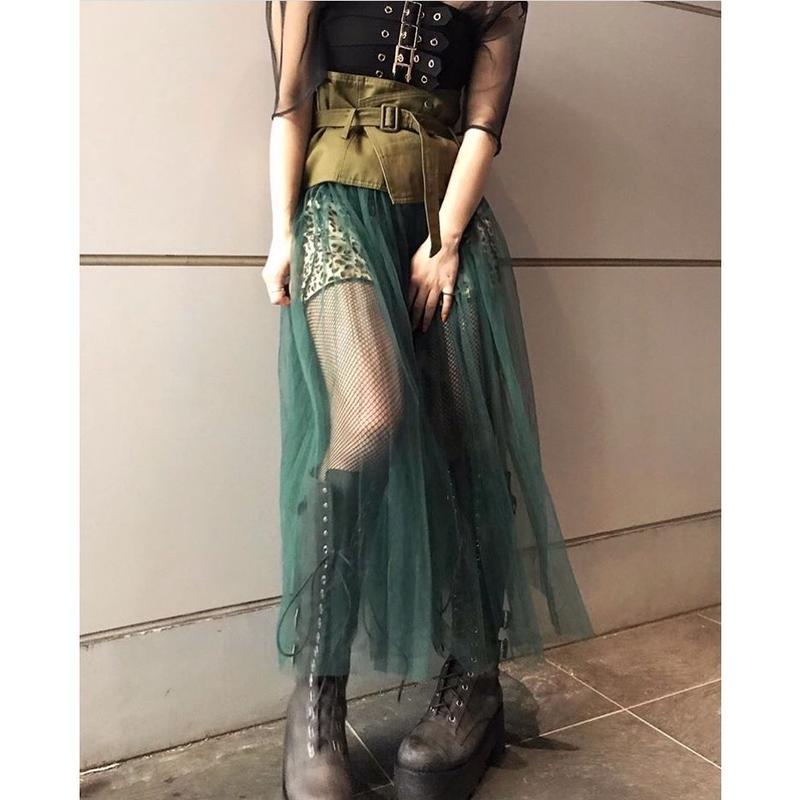 【CUBRUN】BELT TULLE LAYERED SKIRT