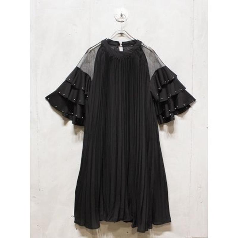 FRILL SLEEVE PLEATS DRESS