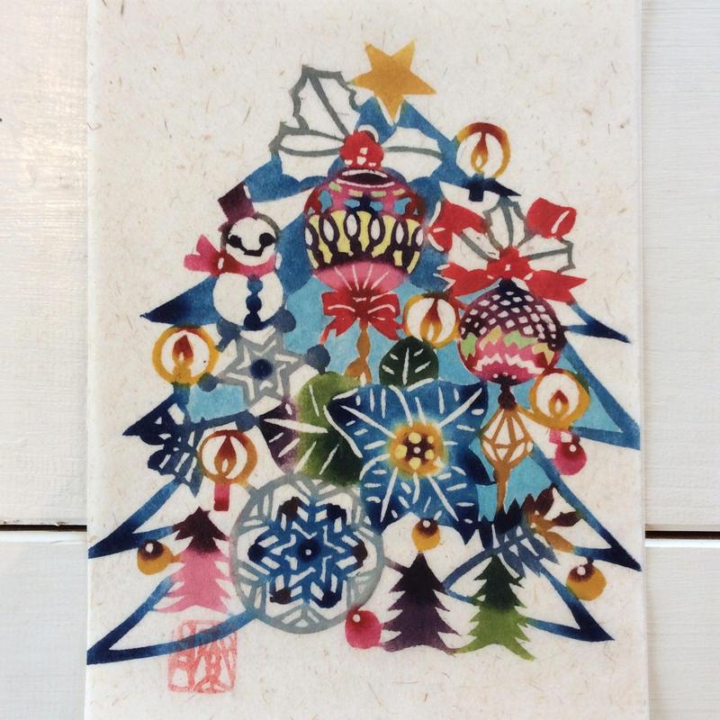 月桃紙クリスマスツリーカードセット「雪だるまとクリスマスツリー」