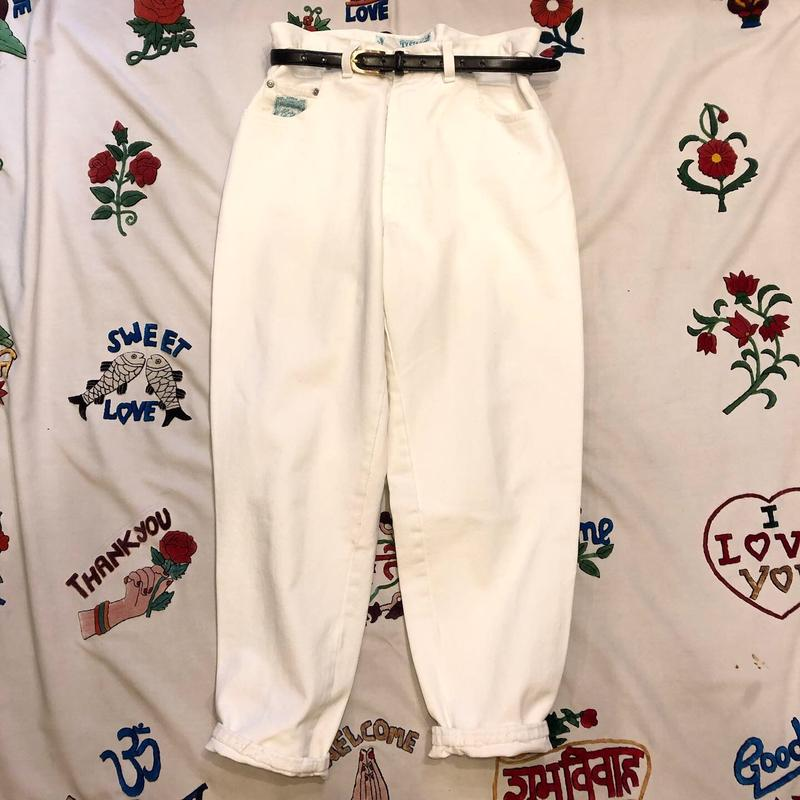 [USED] Euro  80's WHITE DENIM BANANA PANTS