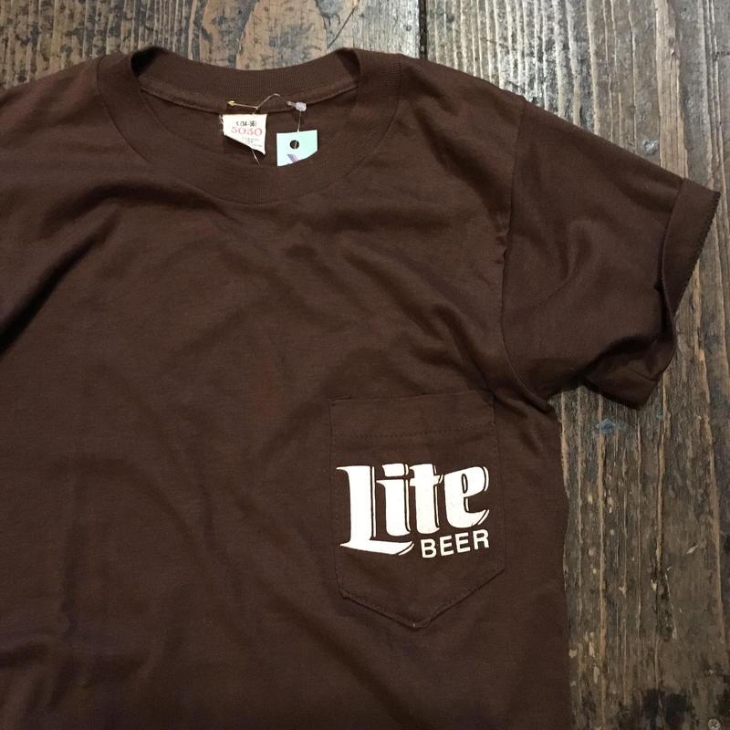 """[USED] vintage """"Lite BEER"""" ポケTee"""