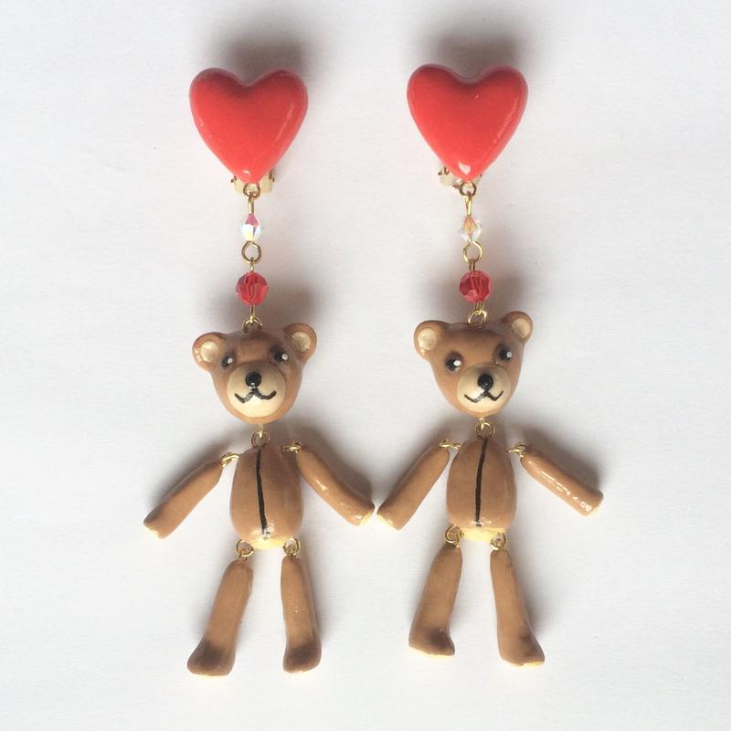 [BENICOTOY] HEART & TEDDYBEAR イヤリング