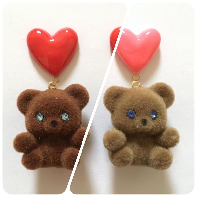 [BENICOTOY] PINK HEART BEAR イヤリング