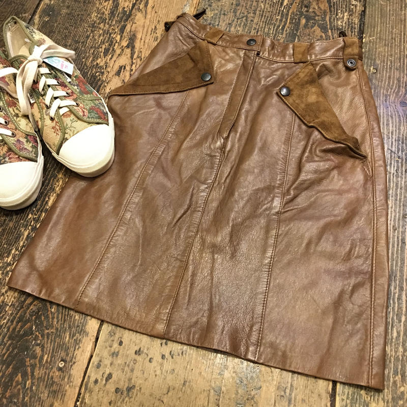 [USED] BROWN Leather Tight Skirt