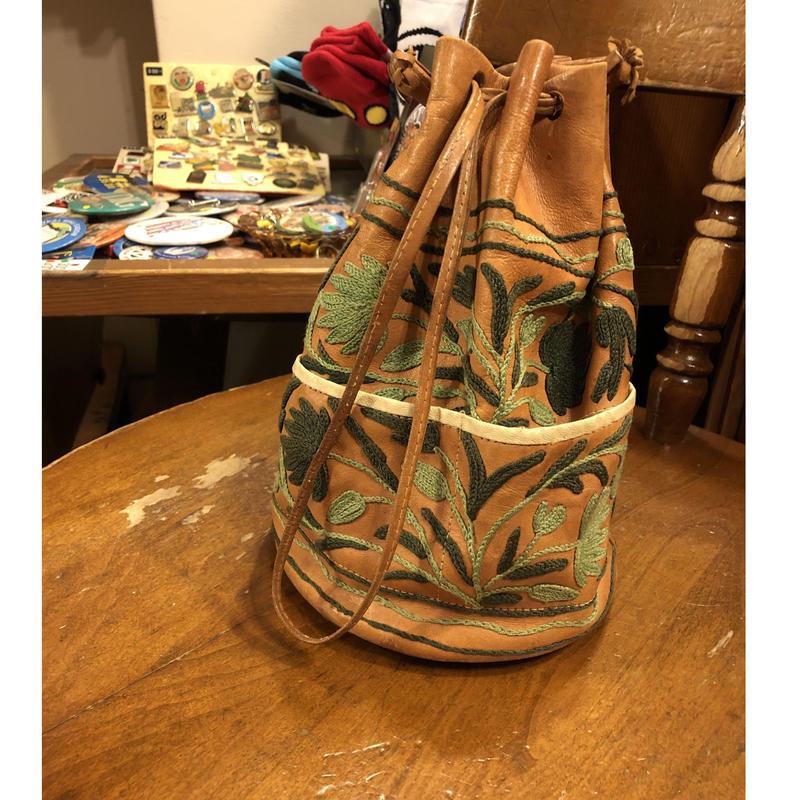 [USED] レザー巾着BAG