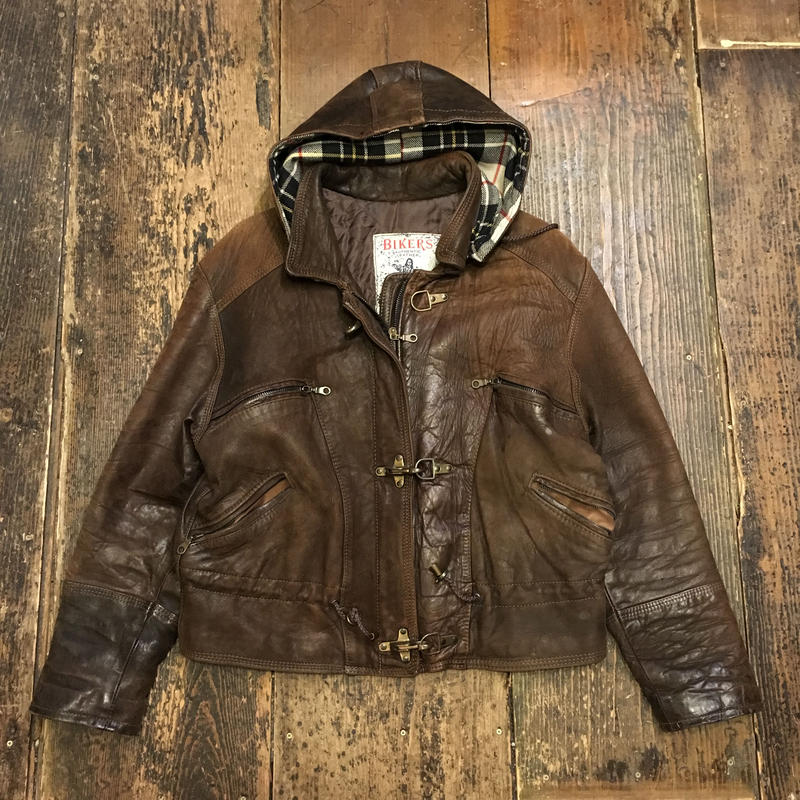 [USED] real leatherのフード付JKT