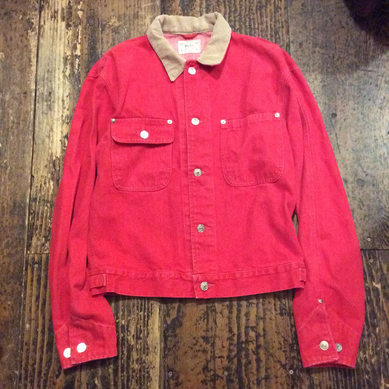 [USED] 90's  Ralph Lauren DENIM JKT RED!!!!
