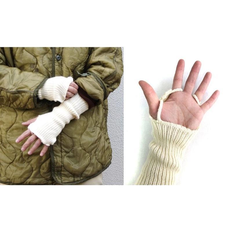 [SELECT] イギリス  WHITE ハンドウォーマー  (指なし手袋)