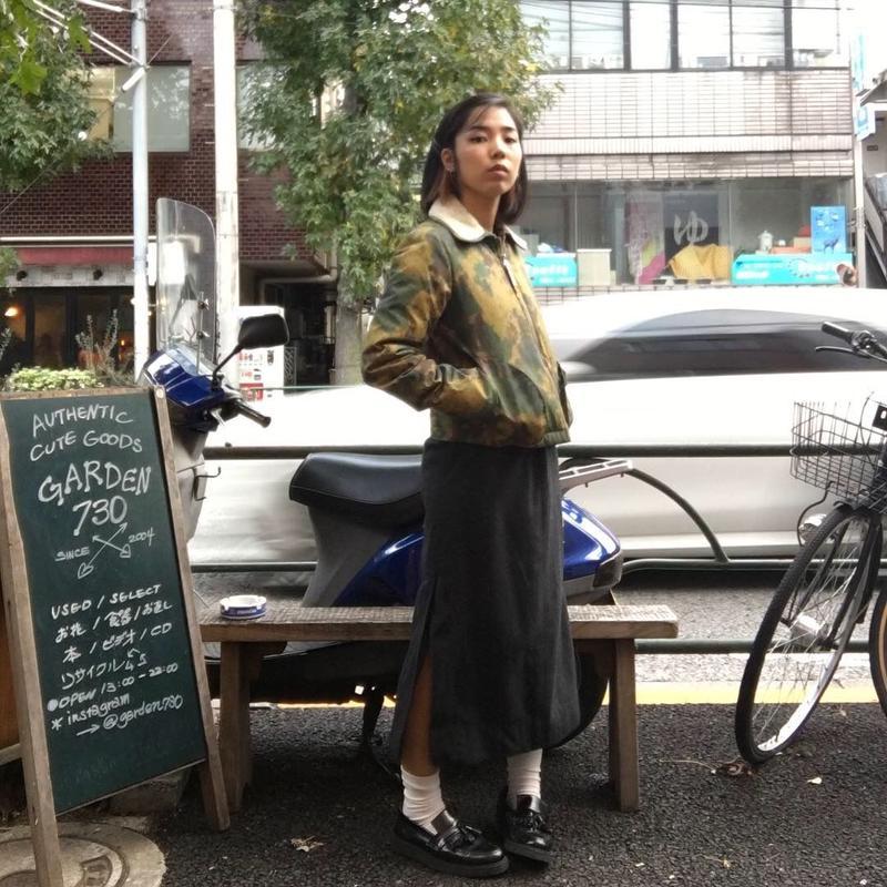 [USED] チャコールグレーのウールスカート