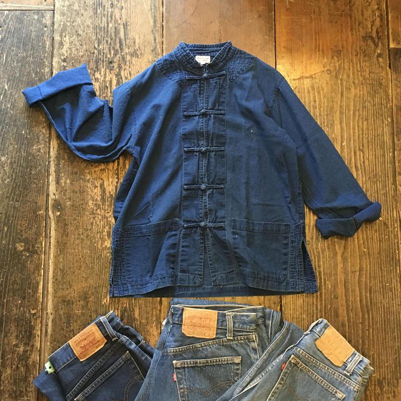 [USED] 100%COTTON NAVY チャイナシャツ