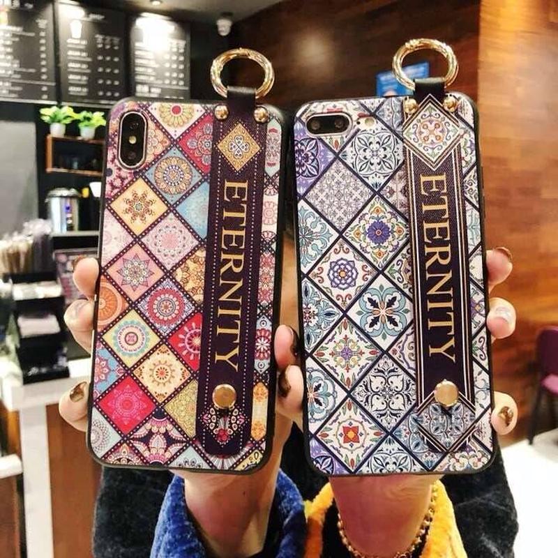 カラフルブロックエスニック柄バンド付 iphoneケース 2色