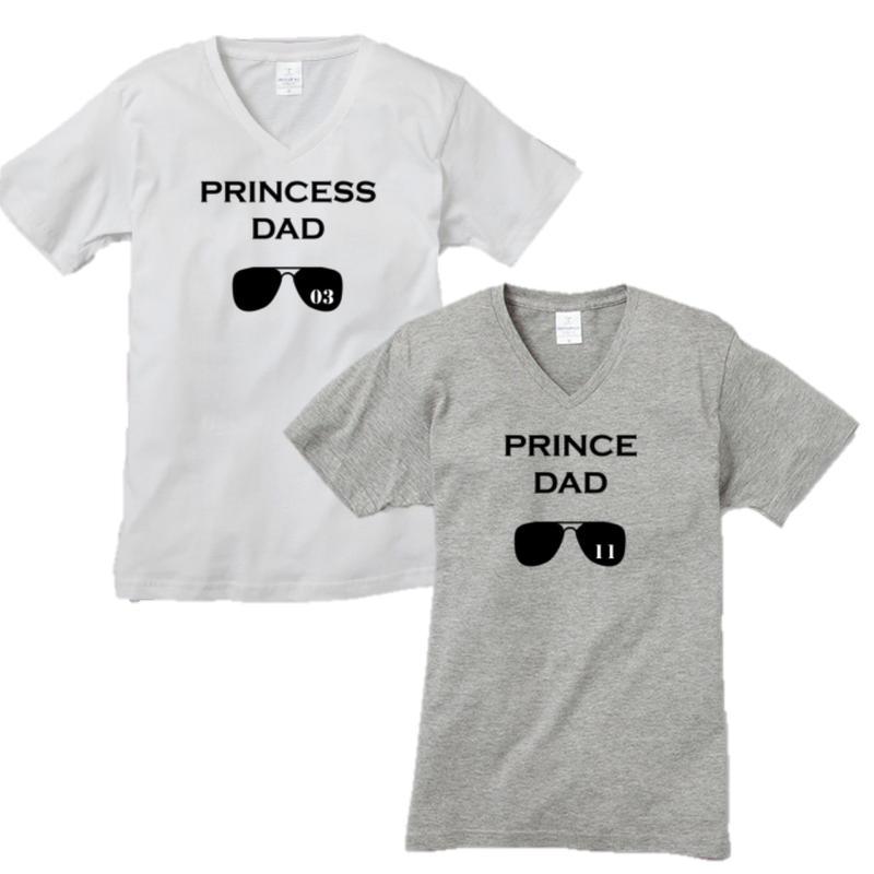 DADDY'S メンズVネックTシャツ(サングラス)文字ブラック