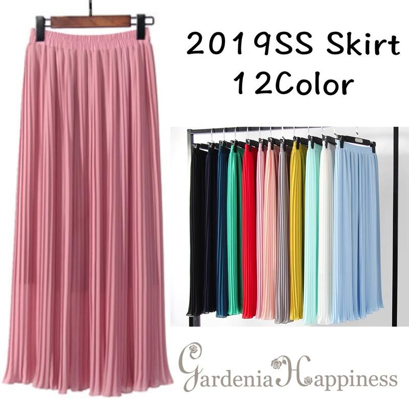 12色展開シフォンプリーツスカート/丈60-90cm