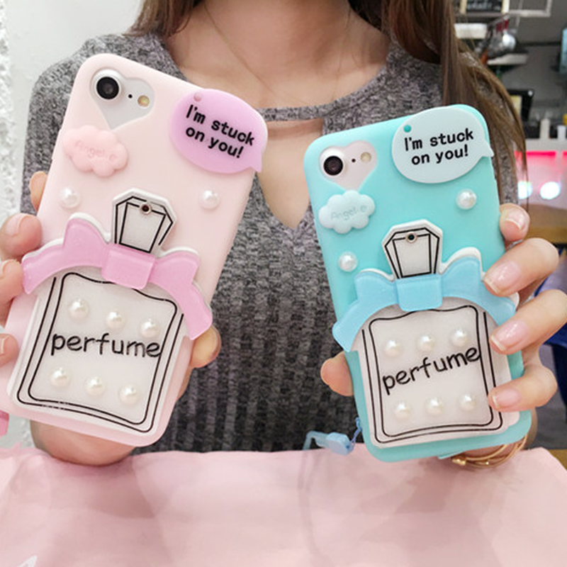 【在庫あり】鏡付き香水瓶&パールデコiphoneケース ピンク&ブルー