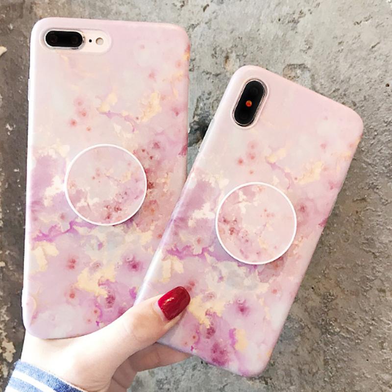 春ピンク大理石グリップ付iphoneケース