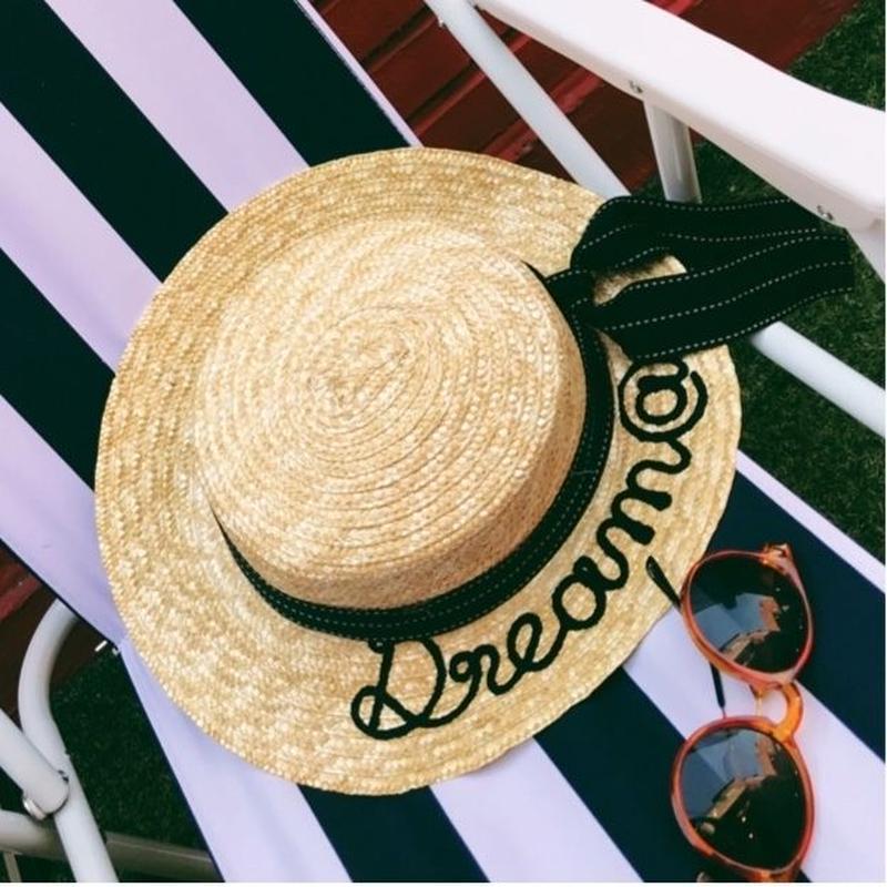 デコレーションリボン英文字カンカン帽