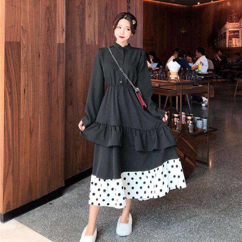 【在庫あり】モノトーン裾ドット柄2段フリルシフォンワンピース