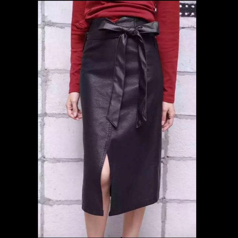 【在庫あり】ウエストマークリボンフェイクレザーミモレ丈スカート