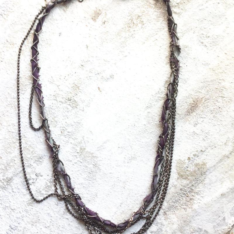 ミックスチェーン 紫のシルクリボン
