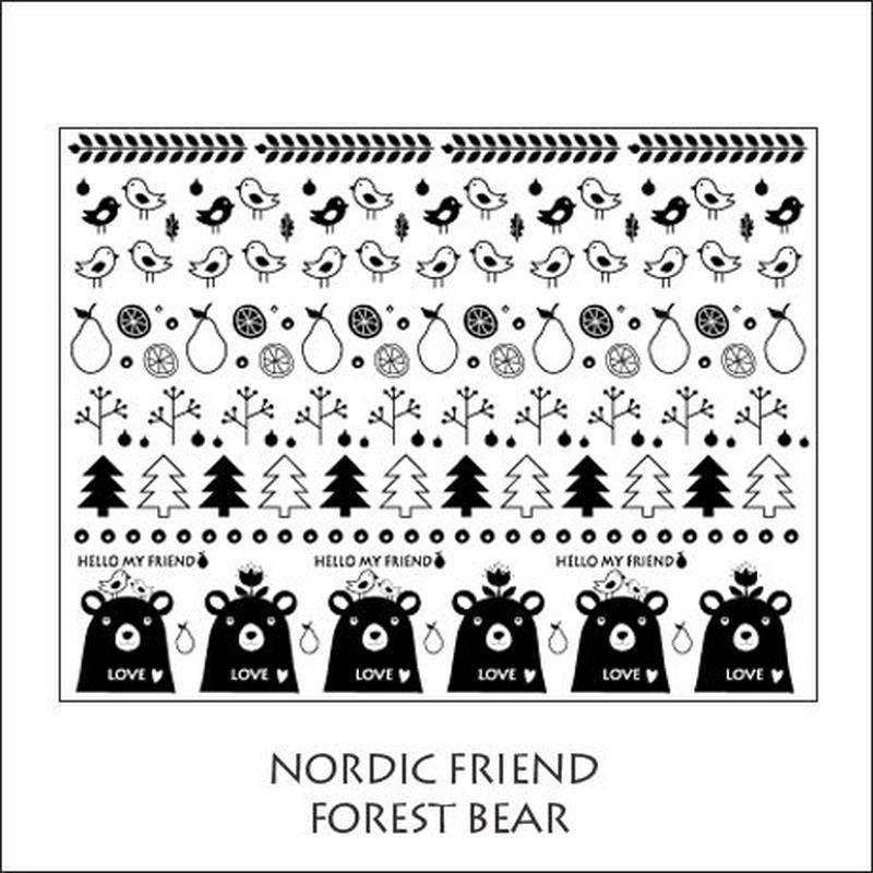 【単品】NORDIC FRIEND転写紙★フォレスト&ベア★ブラック