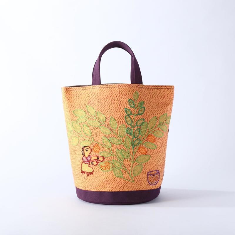 スージニバッグ(円形トート・オレンジ)