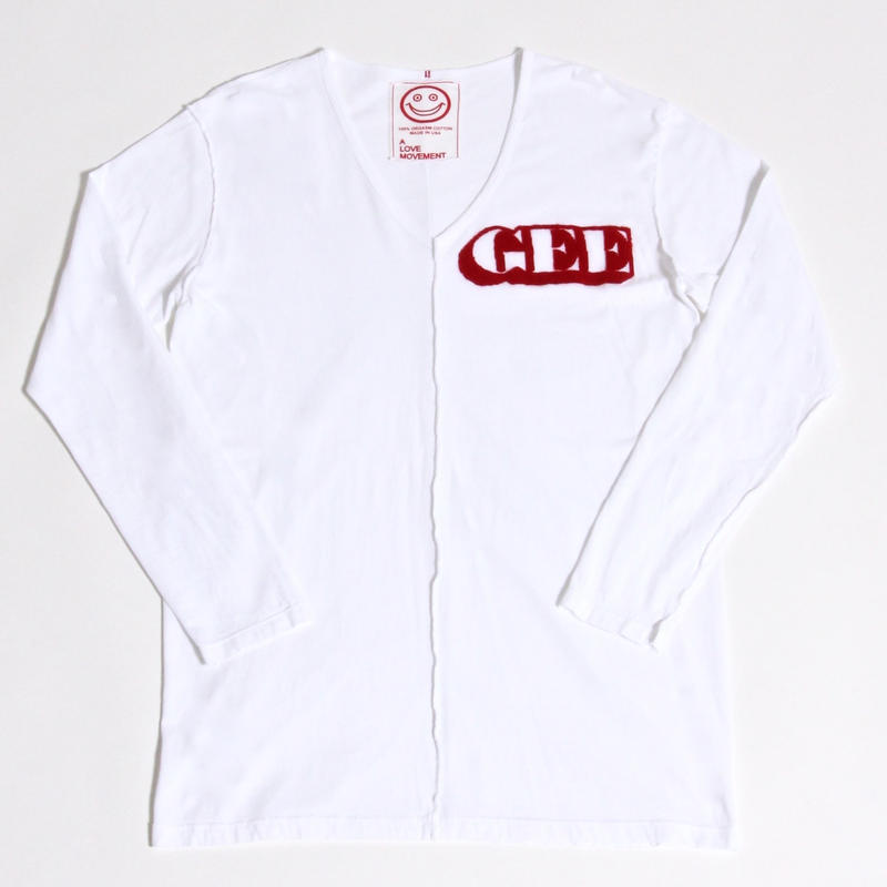 "ALM×GEE V-Neck Solid L/S T-shirts ""GEE"" / RED / size:M"