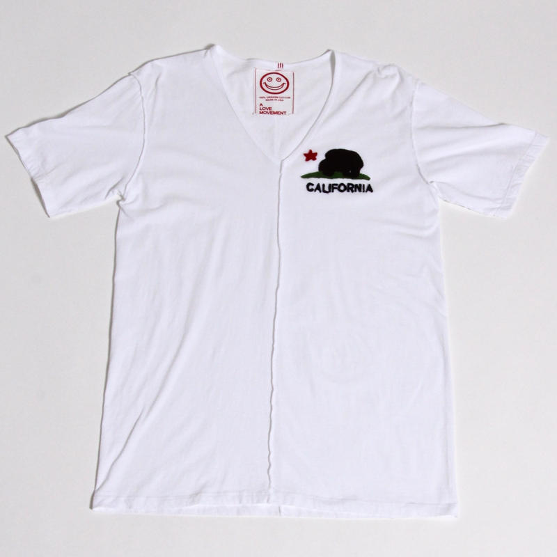 ALM V-NECK T-SHIRTS wirth CALIFORNIA BEAR / WHITE / size:L